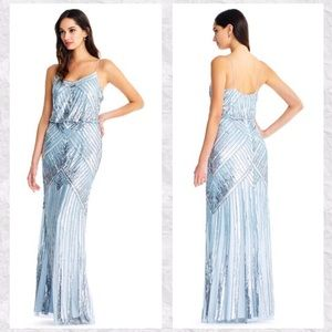 Aidan Mattox Sequin Blouson Column Maxi Dress